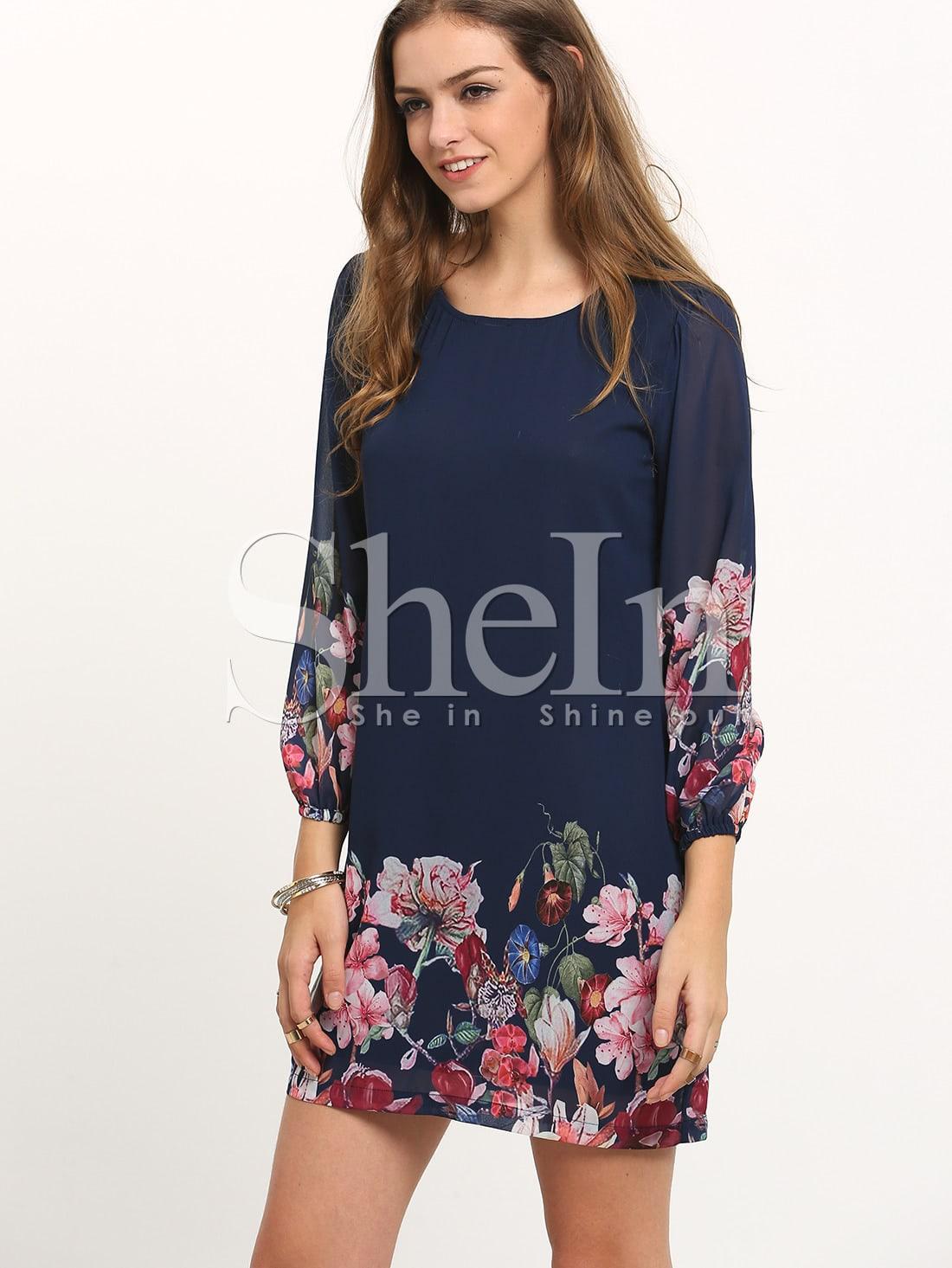 Фото Flower Print Lantern Sleeve Dress. Купить с доставкой