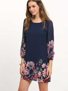 Dark Blue Lantern Sleeve Floral Shift Dress
