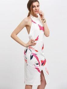 Multicolor Print Split Front Backless Halter Dress