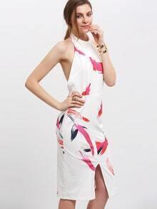 Multicolor Print Split Front Backless Halter Dress