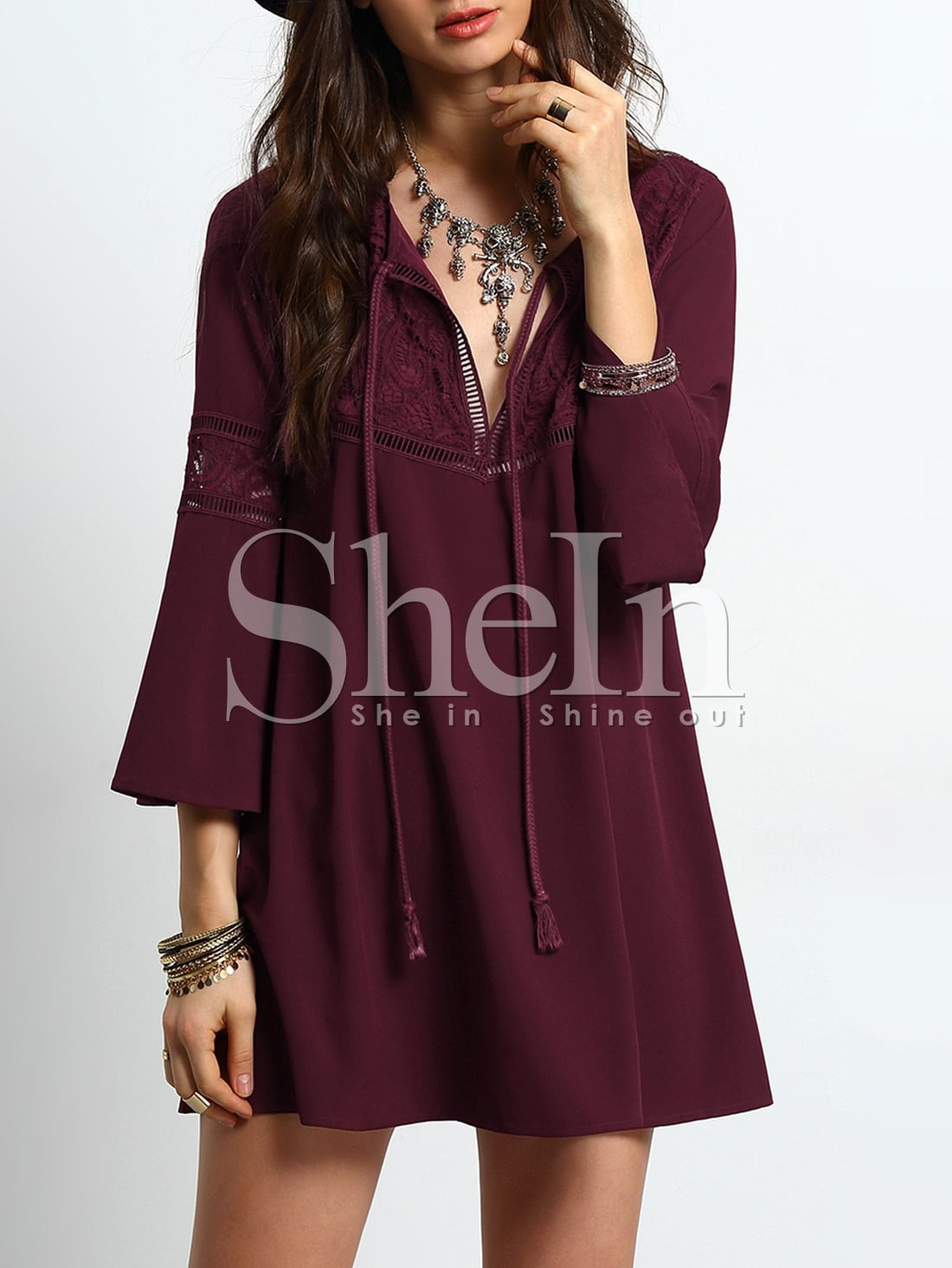 Bell Sleeve Tie Neck Lace Splicing Swing Dress contrast fishnet shoulder bell sleeve swing dress