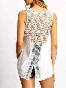 White Sleeveless Crochet Lace Splicing Blouse