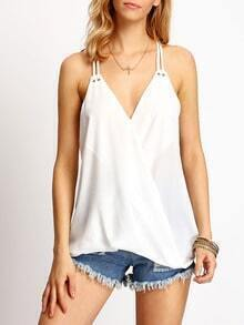 White Cross Front Spaghetti Strap Camis Top