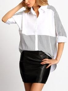 Colour-block Lapel Striped Loose Blouse