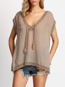 Coffee V Neck Hollow Loose Blouse
