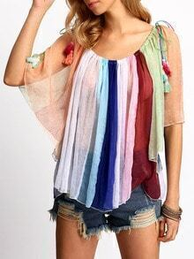 Multicolor Boat Neck Vertical Stripe Blouse