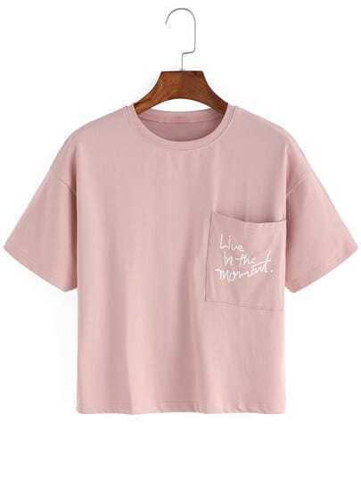 Pink Crew Neck Pocket Crop T-Shirt