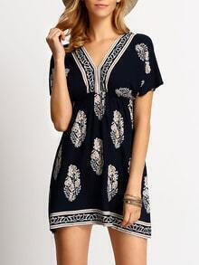 Navy V Neck Short Sleeve Floral Backless Dress