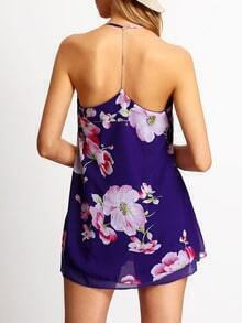 Purple Spaghetti Strap Floral Chiffon Dress