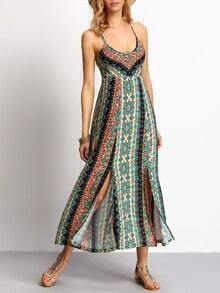 Multicolor Spaghetti Strap Tribal Print Split Dress