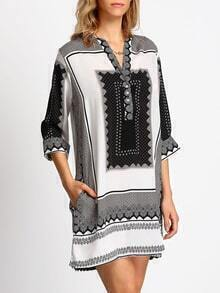 Black White V Neck Tribal Print Loose Dress