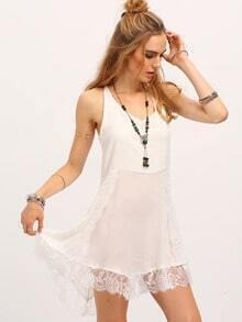 White Spaghetti Strap Lace Embellished Dress