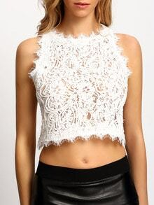 White Round Neck Hollow Lace Tank Top