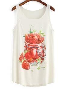 White Strawberry Print Loose Tank Top