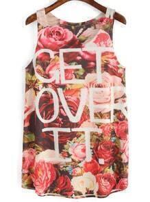 Multicolor Floral Letters Print Tank Top