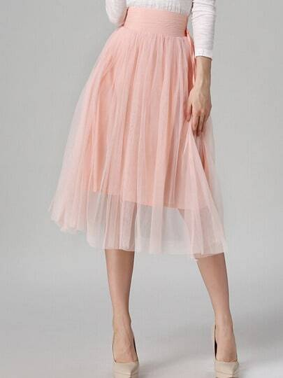 Pink Sheer Mesh Pleated Skirt