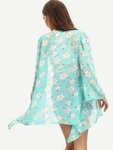 Turquoise Floral Chiffon Loose Kimono