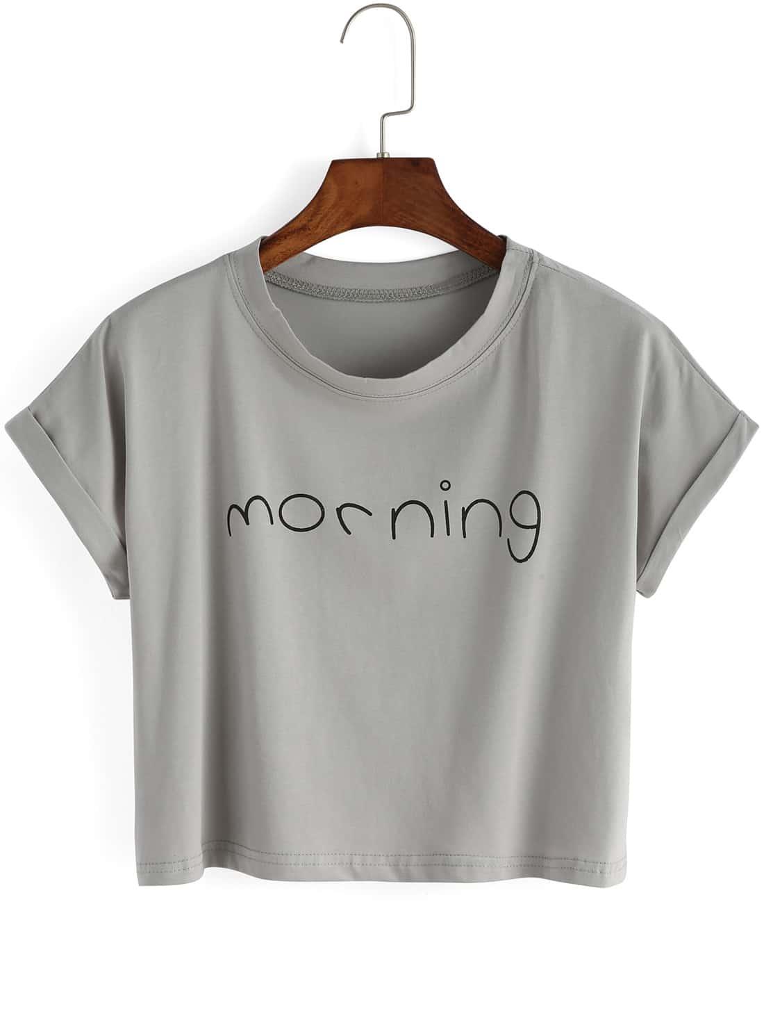 Grey Crew Neck Letters Print Crop T-Shirt grey stripe details crew neck long sleeves t shirt