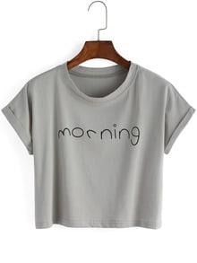 Grey Crew Neck Letters Print Crop T-Shirt