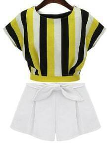 Multicolor Vertical Stripe Crop Top With Shorts