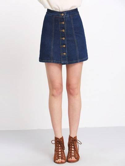 A Line Denim Skirt With Buttons -SheIn(Sheinside)