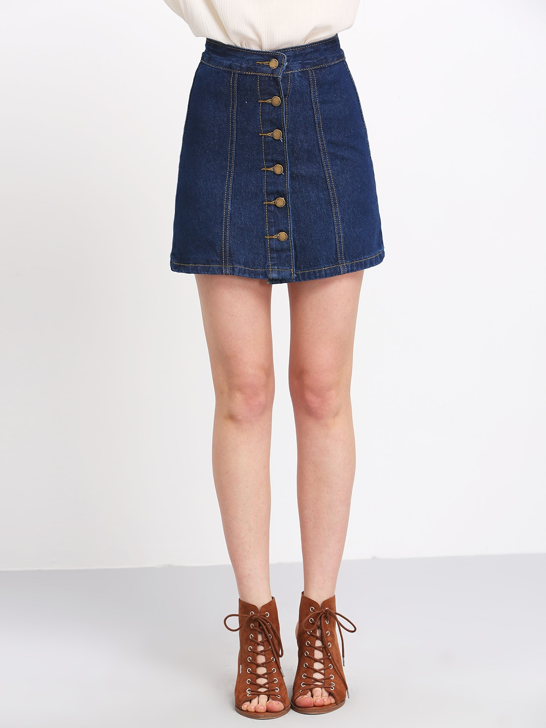 Image of A Line Denim Skirt With Buttons