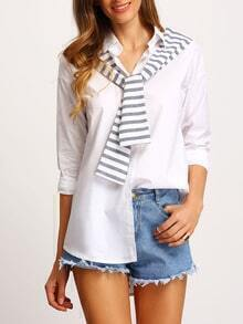 White Striped Shawl Embellished Loose Blouse