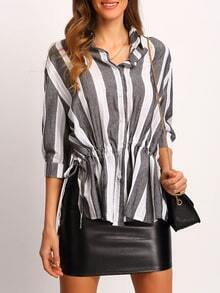 Grey White Vertical Stripe Loose Blouse
