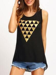 Black Round Neck Triangle Print Tank Top