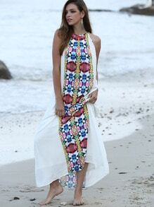 Multicolor Placement Print Keyhole Back Maxi Dress