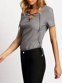 Grey Short Sleeve Lace Up Front T-shirt