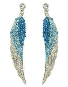 Lightblue Rhinestone Wing Shape Earrings