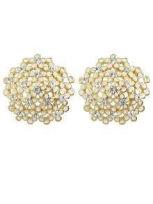 White Rhinestone Flower Round Earrings