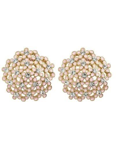 Pink Rhinestone Flower Round Earrings