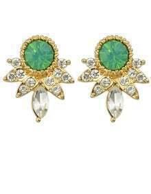 Green Rhinestone Small Stud Earrings