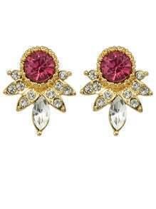 Hotpink Rhinestone Small Stud Earrings