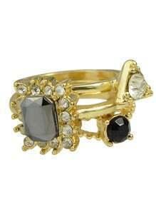 Gold Plated Rhinestone Rings Set