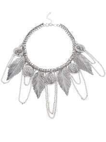 Silver Feather And Portrait Logo Bib Necklace