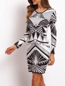 Geometry Print Sheath Dress