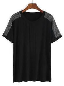 Black Contrast Shoulder Crew Neck Loose T-Shirt