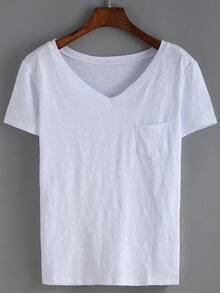 White V Neck Pocket T-Shirt