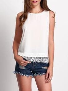 White Crew Neck Lace Hem Tank Top
