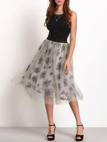 Grey Sheer Mesh Floral Midi Skirt