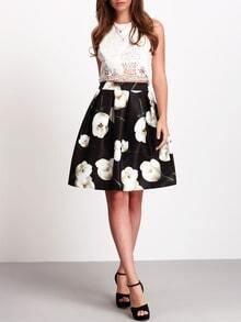 Black High Waist Floral Flare Skirt