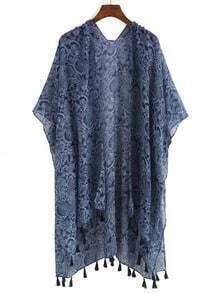 Blue Cashew Print Loose Kimono