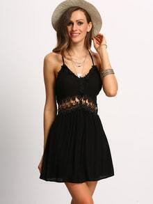 Black Spaghetti Strap Hollow Dress