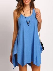 Blue Sleeveless Shift Tank Dress