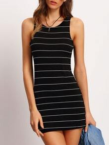 Black Crew Neck Striped Bodycon Dress