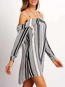 Black White Cold Shoulder Vertical Stripe Dress
