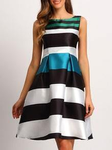 Multicolor Sleeveless Striped Flare Dress